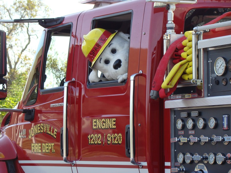 Sparky in the Fire Truck