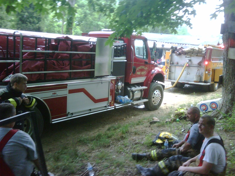 Taking a break at New Columbus area fire